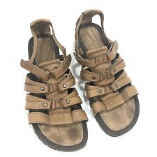 Teva Womens Comfy Brown Leather Wedge Adjustable Straps Gladiator Sandals Sz 9.5