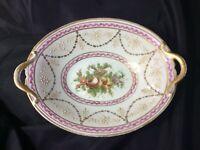 ANTIQUE French Hand-Painted W Gilt-Trim porcelain Bowl