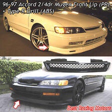Mu-gen Style Front Bumper Lip (PP) + TR Style Grill (ABS) Fit 96-97 Honda Accord