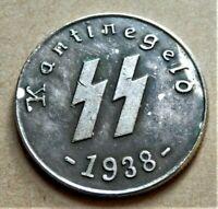 WW2 GERMAN COLLECTORS COIN SS KANTINEGELD 50 REICHSPFENNIG 1938