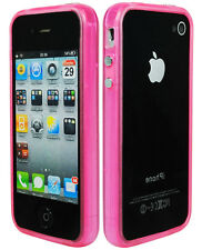 for iPhone 4, 4S Glow in the Dark Pink Bumper Rim / SIlver Buttons