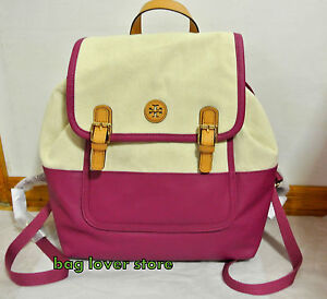NWT Tory Burch Pierson Backpack Logo Canvas Bag Natural Party Fuchsia Pink