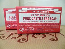 2 Bars 140g Dr. Bronner's Pure Hemp Castile Bar Soap Hemp Rose Organic Vegan