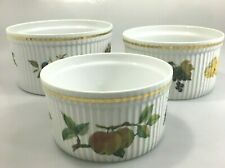 Royal Worcester Evesham Set of 3 Gold Porcelain Fruit Souffle Dish Casseroles