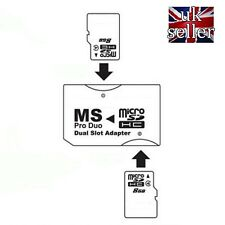 Micro SD TF to Memory Stick MS Pro Duo PSP Card Dual 2 Slot Adapter Converter uk