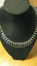 Vintage 980 Silver Sectional Onyx Necklace
