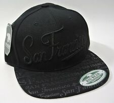 NEW CA California Hat SnapBack Flat Bill Cap Black San Francisco Bay Golden Gate