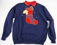 Vintage Christmas Sweater Size XL Ugly Sweater Party Stocking Candy Cane Present