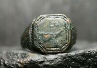 Rare ancienne bague en bronze patiné, viking, modèle antique, 6ème-11ème siècle