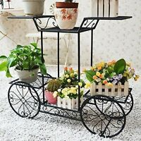 Flower Pot Rack Plant Display Stand Shelf Wrought Iron Holder Garden Patio Decor