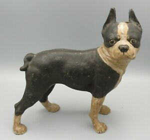 1920 Antique Hubley Boston Terrier Bulldog Cast Iron Door Stop Dog Sculpture
