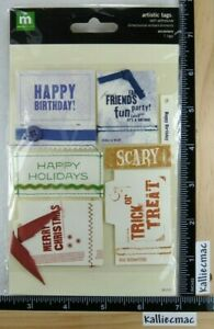 Making Memories ARTISTIC TAGS Stickers CHRISTMAS BIRTHDAY HALLOWEEN PARTY
