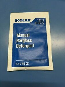 200 Packets Ecolab 6110372 Manual Bar Glass Detergent 0.5 oz