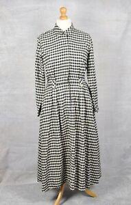 ORVIS Black & Cream gingham check brushed cotton shirt dress 14