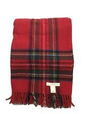 Pottery Barn throw blanket 100% wool Red plaid Italy made tasseled edge