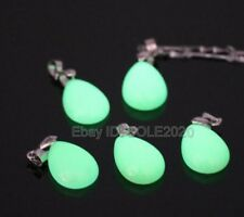 Natural Fluorite Luminous Stone Carved Water Dropping Lucky Pendant Necklace