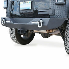 "Rock Crawler Full Width Rear Bumper w/2"" Hitch Receiver LED for Jeep Wrangler JK"