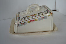 Vintage Porcelain Covered Butter Dish Rose Flower Geometric