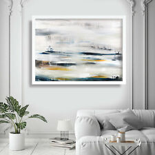 Abstract Painting Art Print White Blue Yellow Wall Poster 2 Contemporary Decor