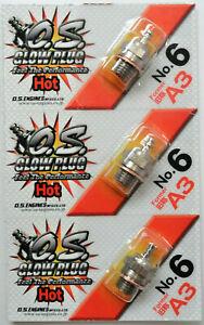 OS No.6 #6 A3 Hot Nitro Glow Plug - 3 Pack 71605300