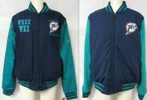 Miami Dolphins Womens XL Reversible 2 Time Super Bowl Champions Jacket A1 2778