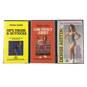 Denise Austin VHS Video Tapes Low Impact Aerobics, Complete Workout, Hips Thighs