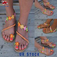 Women's Boho Beads Flower Sandals Gladiator Summer Beach Flip Flops Flat Shoes