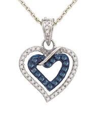 Blue & White Diamond Pendant 10K White Gold Dual Heart Diamond Pendant .25ct