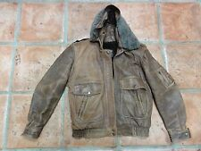 VINTAGE THE HAPPY SHOP KOREA CUSTOM MADE BOMBER LEATHER COAT / JACKET Size 38