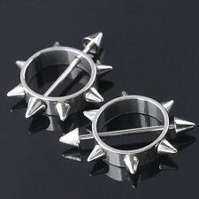 Paar Silbern 316L Edelstahl Ring Nieten Brustwarzen Bar 1mm Körper Punk Piercing