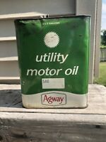 Vintage AGWAY 2 Gallon Oil Can UTILITY MOTOR OIL Advertising