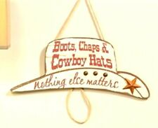 Western sign Cowboy Hat Shaped Wood Boots Chaps and Hats Wall Decor Plaque
