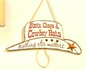 Western Decor Cowboy Hat Shaped Wood Boots Chaps and Hats Wall Plaque sign