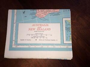 "Hammond's Map Australia & New Zealand Vintage 1950's Great Colors 33"" x 48"""