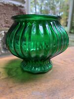 """Vintage E.O. Brody Co. Cleveland Depression Glass Green Ribbed Bowl 6"""" Candy Dis"""