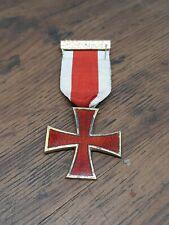 More details for vintage sterling silver masonic medal red enamel knights templar cross