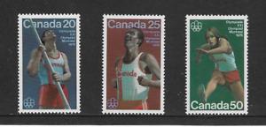 1976 Canada - Montreal Olympics -Full Set of Three - Mint & Never Hinged