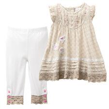 NWT Target Baby Girls Lace Flowers Crochet Dress + Leggings Set Size 000 0 1