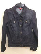 Guess Womens Jean Jacket Size Medium Dark Denim Blue Tailored Fit Buttons Sexy