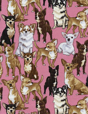 Timeless Treasures Chihuahuas Pink 100% cotton fabric by the yard