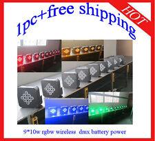 1pc 9*10W Led Par Light RGBW Wireless DMX512 Battery Power 4 in 1 Free Shipping