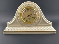 Vintage Lenox Tambour Clock Ivory Gold Trim Mantle Clock Runs Great New Battery