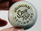 Vintage Wood Wooden Duncan Beginners Spin Top blue white toy
