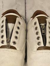 "Impulse Men's Zipper White Brown Canvas Slip On Shoes ""Size 9.5"""