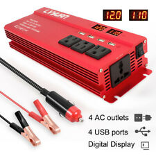 5000w Peak Car Vehicle Power Inverter Converter DC 12v to AC 110v 4 socket 4 USB