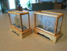 Vintage Two SAIL BOAT Sculpture in Wood & Glass Casing