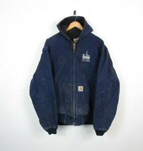 VTG Mens CARHARTT Blue US Quilt Lined Hooded Workwear Chore Jacket | XXL Tall