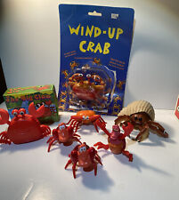 6 Crabs Wind Up Toys & Rubber Red Crab Crustaceous Toys They Work Sea Animals
