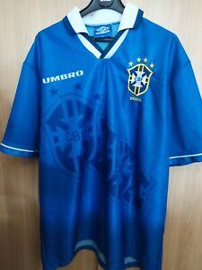 Maillot de foot Brésil extérieur bleu Umbro 1995/1996