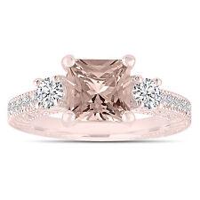 Princess Cut Pink Peach Morganite Engagement Ring 1.88 Carat 14k Rose Gold